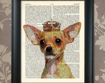 Chihuahua Portrait, Chihuahua Print, Chihuahua art, Chihuahua Wall art, Pet Dog Art, Dog Portrait, Proud Chihuahua, Chihuahua Gift,Dog Print