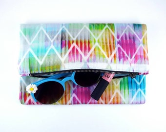 Geometric Purse Foldover Clutch Clutch Purse Handbag Gift For Her Birthday Gift Travel Bag Pastel Purse Pastel Bag Rainbow Purse