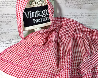 Vintage hand made hand embroidered red checked gingham apron kitchen helper 50s