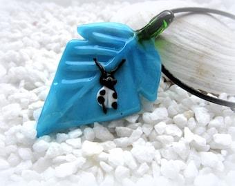 Necklace Leather Chain Lämpwork leaf