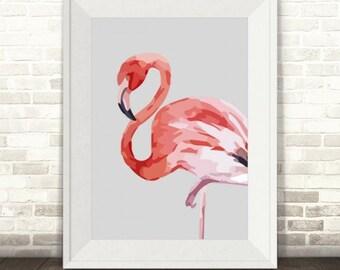 Flamingo Print, Pink Flamingo Wall Art, Watercolour Flamingo Print