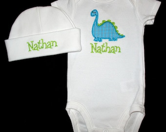 Custom Personalized Applique Gingham DINOSAUR and NAME Bodysuit and Hat Set - Turquoise Mini Gingham and Lime Green