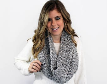 Knitted Scarf Cowl Chunky Grey Marble- Anacostia Cowl