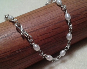 Delicate Freshwater Rice Pearl Bracelet 4mm In Sterling Silver - Sale!