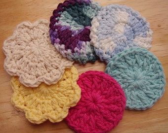 6 Facial Scrubbies, Face Scrubbie Sampler, Color Assortment as Shown. All  Cotton