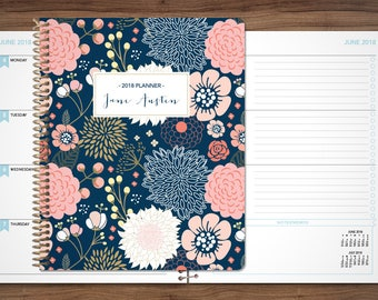 planner 2018 2019 | 12 month planner | student planner HORIZONTAL LAYOUT weekly calendar / navy pink gold floral as seen on dr oz magazine