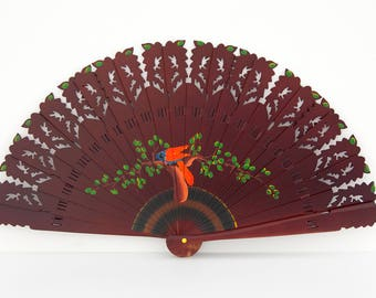 Vintage handpainted Spanish fan, wood construction with fabric rib ties, Japanese style collectible fan.