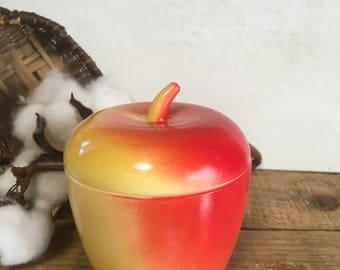 Vintage apple jam jar Hazel atlas red yellow milk glass container dish lidded decor country jelly gift teacher school holiday Christmas