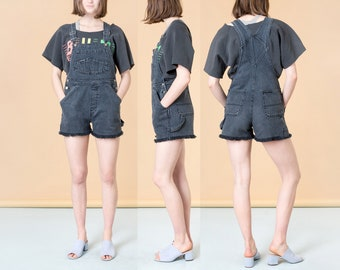 OVERALL SHORTS DENIM black cut off vintage overalls woman 90S London London / Size Medium