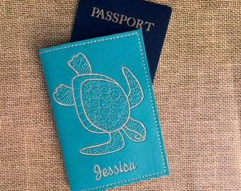 Kids Passport Cover with Turtle and Name - Passport Holder Sea Turtle - Turquoise Faux Leather Passport Cover- Travel Gift Personalized