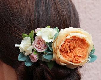 Blush wedding head piece Peach flower hair clip Orange rose hair accessory Wedding hair clip Bridal flower headpiece Bridal hair flower rose