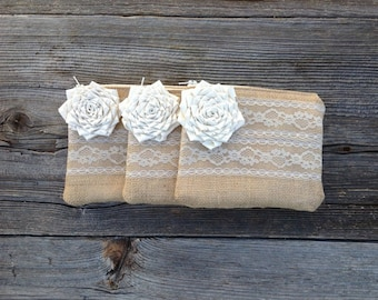 Set of 3 Custom Clutches, Bridesmaid Gifts, Lace Wedding Bags, Maid of Honor Gift, Ivory Bridesmaid Clutches, Burlap Wedding Clutch, Bride