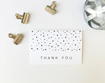 Thank You Cards, Fun Thank You Cards, Printed Cards, Thank You Notes, Wedding Thank You, Black and White Dots, Polka Dots, PHYSICAL PRINT