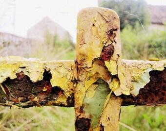 Irish Photography - Yellow Gatepost Fine Art Photograph - Rural Ireland Print - Irish Farm Gate - Rustic Decor