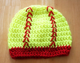 Softball Hat, baby softball outfit, crochet newborn photo prop, crochet photo prop, safety yellow and red, Newborn to 12 Months