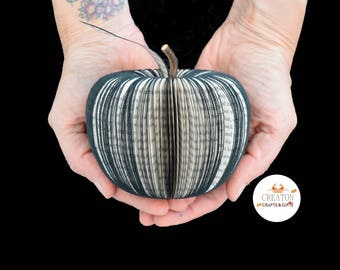 Black Apple - 3D apple -Personalized Apple - Book Apple - Handmade  -  Paper Fruit - Gothic gift - book gift - Gothic home decor - Black art