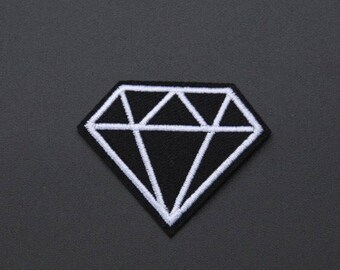 """Black Diamond Iron on Embroidered patch (L=2.0"""" W=1.5"""")"""