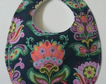 Midnight Navy Floral Baby Bib with Embroidery