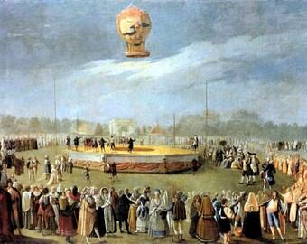 """Ascent of a Balloon, 1808, Antonio Carnicero Y Mancio, Charles the IV, Court, balloon fair, hot air balloon print, 8x10"""" Cotton Canvas Print"""