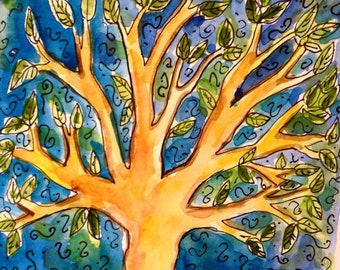Tree of Life Card, Hand Painted Card, Tree Art, Tree of Life Painting, Jewish gifts, Jewish Cards, Handmade Card, Original Painting, Blue