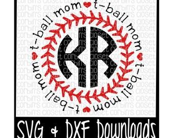 T-Ball Mom Circle Monogram Cutting File - SVG & DXF Files - Silhouette Cameo/Cricut