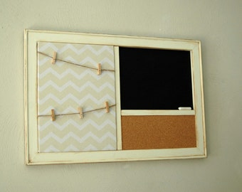 Clothespin Picture Frame with Chevron Memo Board, Chalkboard or Whitebord & Corkboard, Clothesline Photo Display,  Shabby Chic,  Dorm Decor