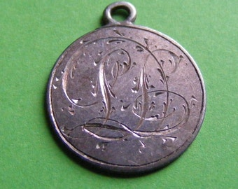 Antique Sterling Silver Love Token Victorian Threepence Coin Pendant Charm Circa 1880's