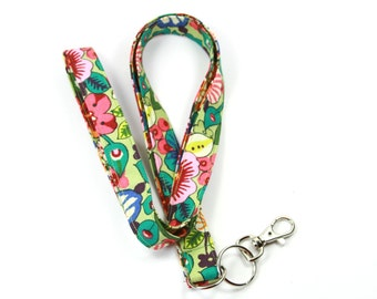 FLORAL Fabric Lanyard, Colorful flower Badge holder, Colorful lanyard, Floral Badge holder