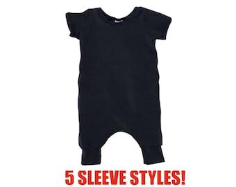 Black Pant Romper (Black Romper,Baby Romper,Infant Romper,Toddler Romper,Kids Romper,Coverall Romper,Harem Romper,Pull On Romper)