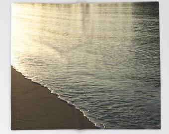 Sea shore photo blanket, beach lover blanket, morning waves bedroom accessory, ocean throw blanket, cozy winter blanket, beach cottage decor