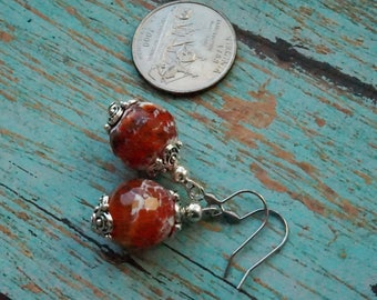 Fire Agate Natural Gemstone Earrings, Handmade Earrings, Gemstone Handmade Jewelry, Unique Gift For Her, Birthday Gift, Mothers's Day Gift