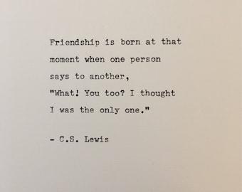 C.S. Lewis quote hand typed on antique typewriter scrapbooking