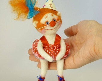 Needle felted Little clown Sculpture wool Doll OOAK Miniature doll Collectible doll Redhead clown Redhead doll Clown Little doll Art doll