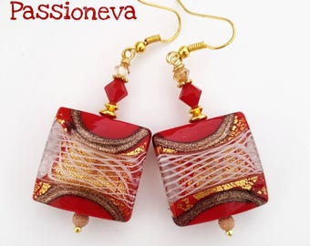 All fire flames - Murano Lampwork Glass earrings gold plated hooks and rhinestones