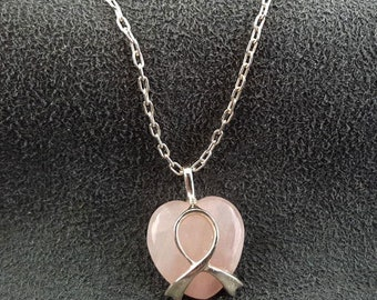 Breast Cancer Sterling Silver Necklace Rose Quartz Heart
