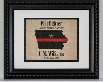 FIREFIGHTER Gift Thin Red Line across ANY US State - Personalized - Fire Department -  Home Decor on Burlap