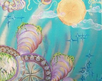 Bloom Dreams Original Acrylic and Aerosol Space Dream Painting