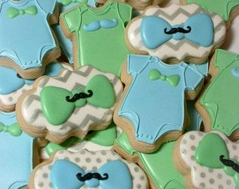 Baby cookies - Mustache and bowtie baby boy cookies - baby shower cookies - 1 dozen decorated cookie favors