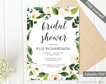 Floral Bridal Shower Invitation Template. Printable Floral Bridal Shower Invitation. White Flower Greenery Gold Spring Calligraphy Download