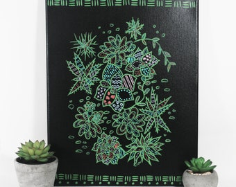 Original Succulents Wall Art - One of a Kind Botanical Art - Plant Lover Home Decor