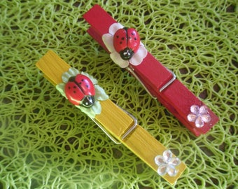 Lot 3 snap Ladybug memo clips