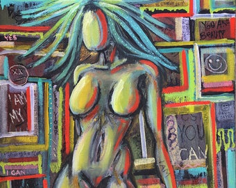 I AM Fierce original painting by artist Rafi Perez Mixed Medium on Canvas 29X30