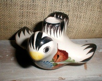Mexican Folk Art Hand Painted Bird Candle Holder *Tonala Mexico*