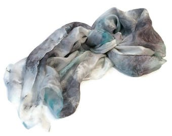 NEW! Silk scarf, shawl, womans, hand sewn, hand painted, unique, elegant,  boho,  accessories, blue, one of a kind, free worldwide shipping!