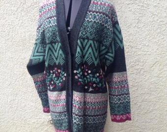 Vintage 80s Contempo long winter cardigan ~ embroidered ~ bohemian