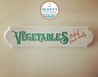 Vegetables Picked Fresh Daily Sign, Kitchen Sign, Farmhouse Sign