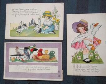 5 Whitney Postcards Easter Bonnets Rabbit Chicken Duck Embossed 1902-1923 Postmarks