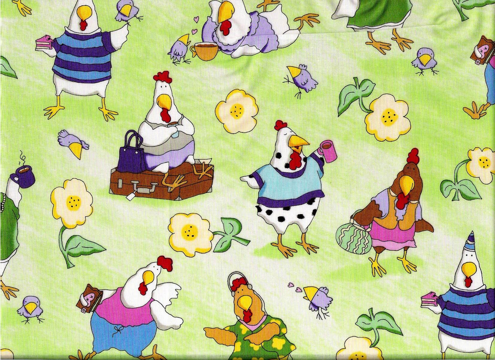 Tissu coton pour enfants avec poules rigolotes - Photos poules rigolotes ...