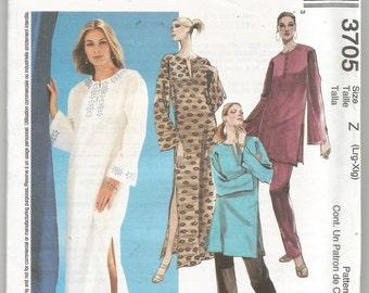 3705 McCalls Sewing Pattern Caftan Tunic Pants UNCUT Size Lg XL 38B 40B 42B 44B Factory Folded