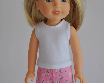 Pink Floral Print Mini Skirt  made to fit Wellie Wishers Doll Clothes 14.5 Inch Doll Clothes